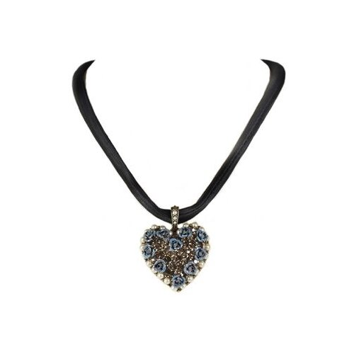 Sweet Romance Blue Roses and Crystal Heart Necklace