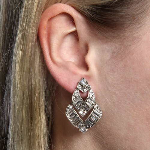 1930s Vee Baguette Crystal Earrings