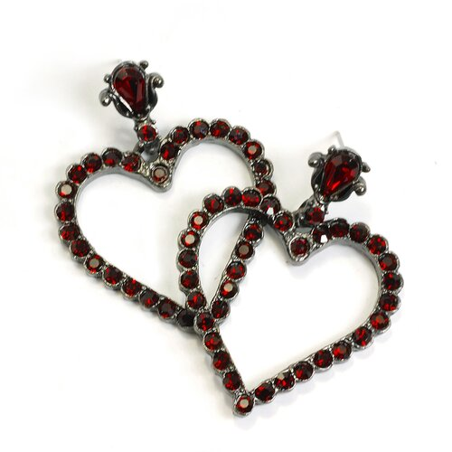 Sweet Romance Outline Hearts Crystal Earrings
