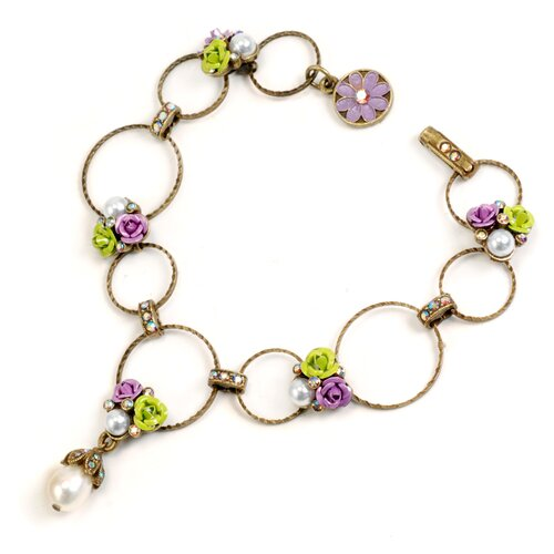 Roses and Circle Crystal/Cultured Pearl Link Bracelet