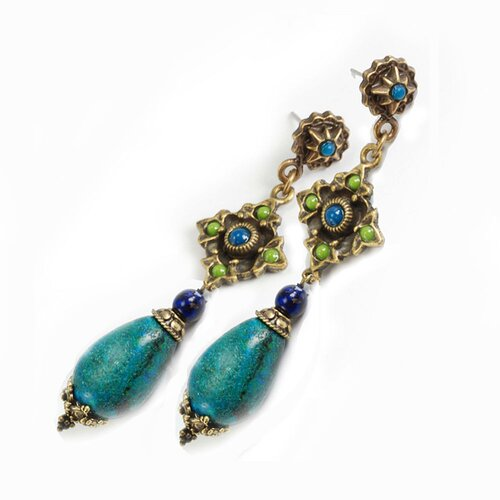 Pear Cut Chrysocolla Drop Earrings