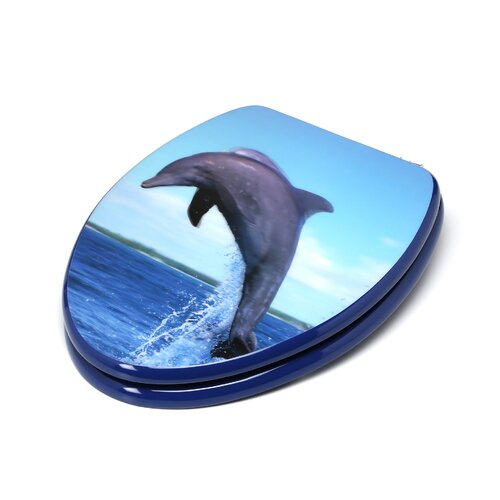 Topseat 3D Ocean Series Dolphin Jumping Elongated Toilet Seat