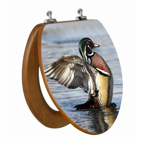 Topseat 3D Upland Series Wood Duck Stretching Elongated Toilet Seat