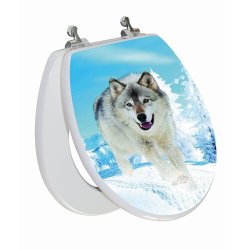 Topseat 3D Series Snow Wolf Round Toilet Seat