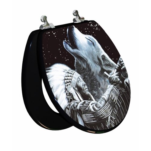 Topseat 3D Vario Scenario Series Indian / Wolf Elongated Toilet Seat