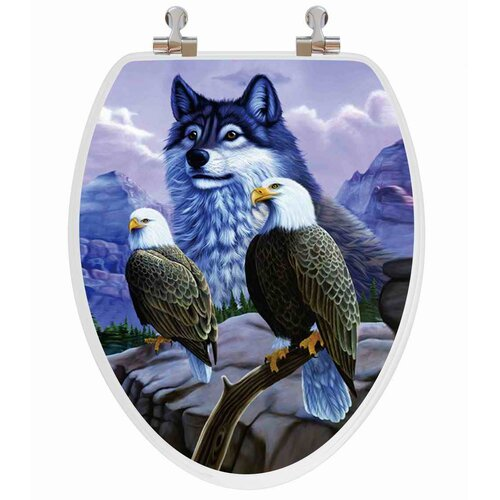 Topseat 3D Vario Scenario Series Wolf and Eagle Elongated Toilet Seat