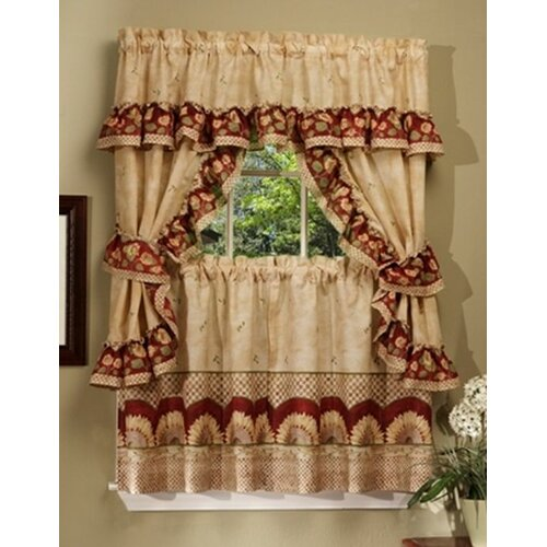 "Achim Importing Co Sunflower Cottage 57"" Valance and Tier Set"