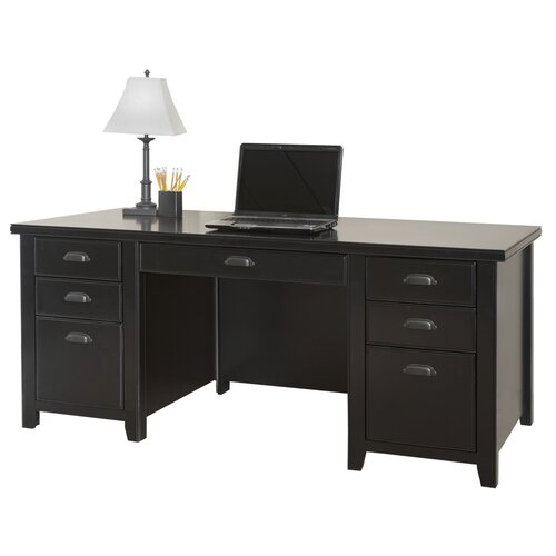 kathy ireland Home by Martin Furniture Tribeca Loft Double Pedestal Computer Desk