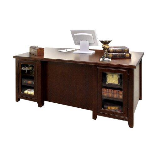 kathy ireland Home by Martin Furniture Tribeca Loft Cherry Double Pedestal Executive Desk