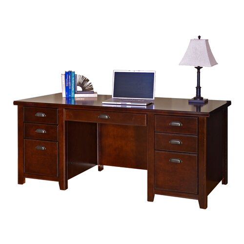 Tribeca Loft Cherry Double Pedestal Executive Desk