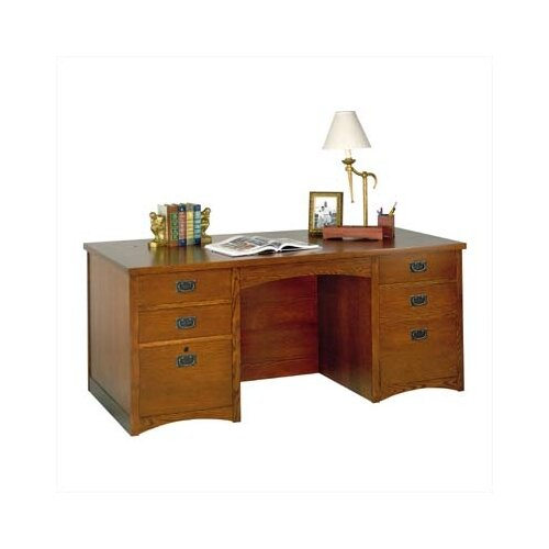 kathy ireland Home by Martin Furniture Wood Double Pedestal Executive Desk