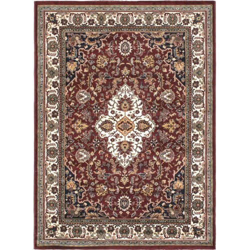 Burgundy/Cream Medallion Floral Rug