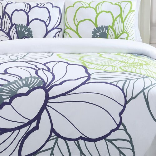Echelon Home Floral Sketch 3 Piece Duvet Cover Set