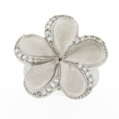 Meredith Leigh Designs Sterling Silver Round Cubic Zirconia Flower Ring
