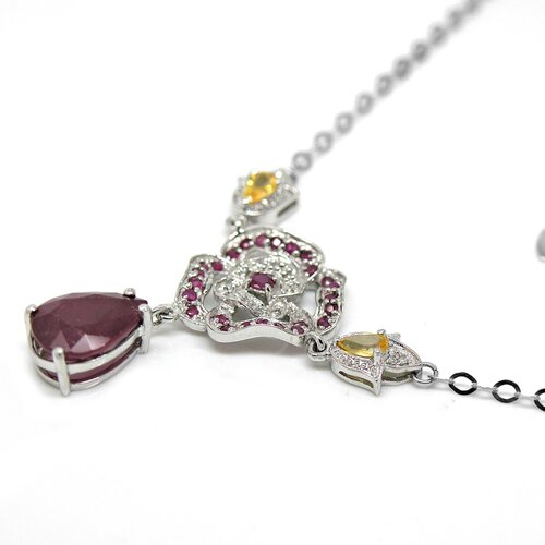 DeBuman Genuine White Gold Ruby Pendant Necklace