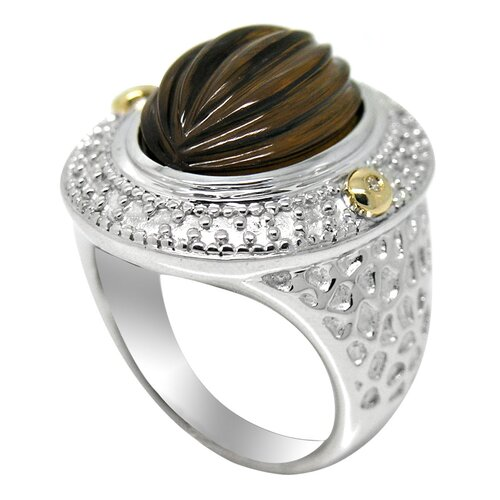 Genuine Yellow Gold and 925 Silver Oval Cut Tea Quartz Ring