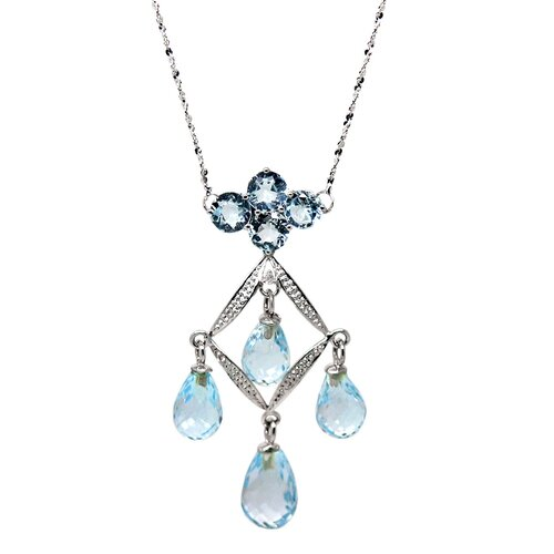 Genuine White Gold Blue Topaz Pendant Necklace