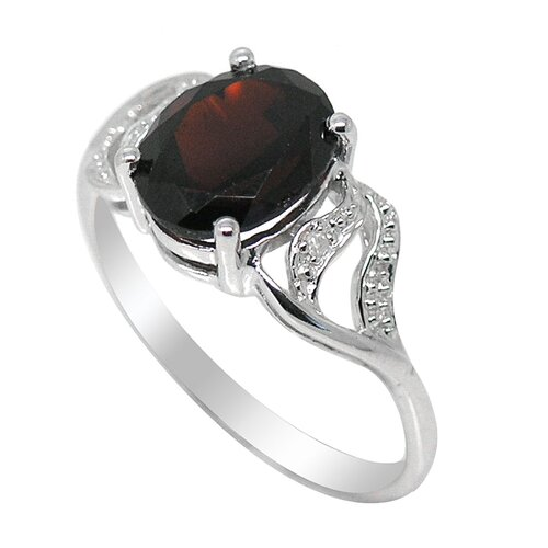 Genuine White Gold Oval Cut Garnet Ring