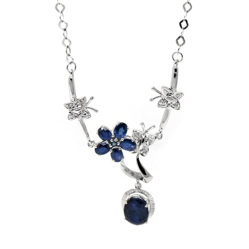 Genuine White Gold Sapphire Pendant Necklace