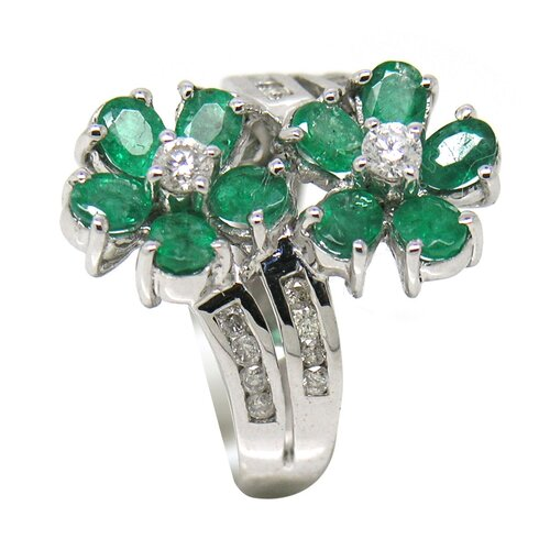 Genuine White Gold Oval Cut Emerald Ring
