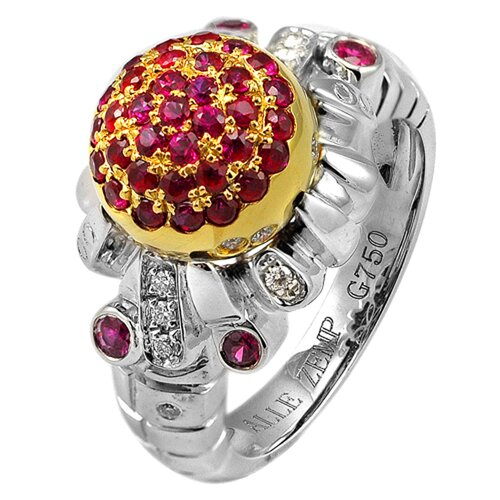 Genuine White Gold Round Cut Ruby Ring