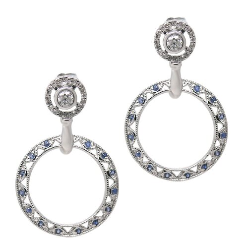 Blue Diamonds Drop Earrings