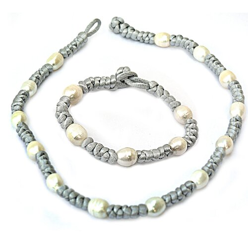 Cultured Pearl Necklace and Bracelet Set