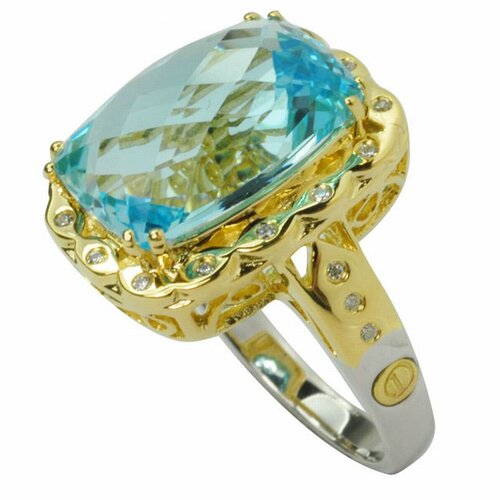 DeBuman 18K Gold and Silver Cushion Cut Topaz and Cubic Zirconia Ring