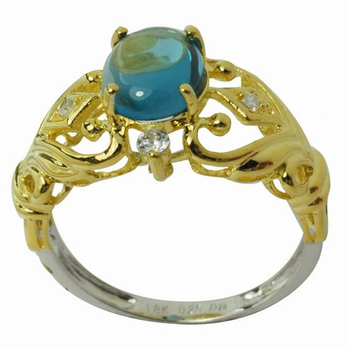 DeBuman 18K Gold and Silver Oval Cut Topaz and Cubic Zirconia Ring