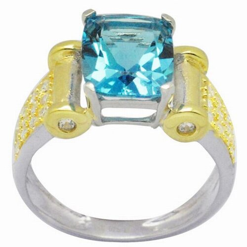 DeBuman 18K Gold and Silver Princess Cut Topaz and Cubic Zirconia Ring
