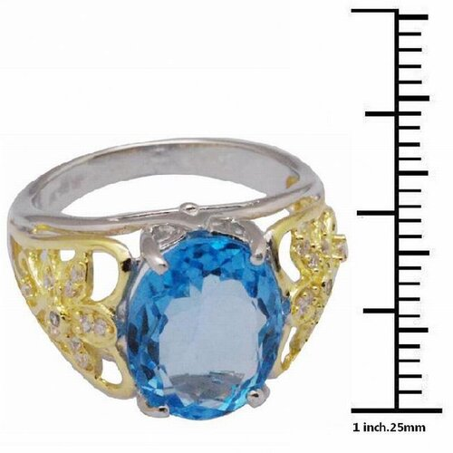DeBuman 18K Gold and Sterling Silver Oval Swiss Topaz and Round Zircon Ring