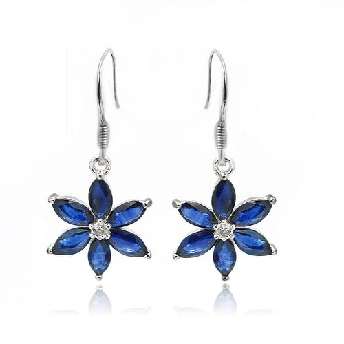 925 Silver Marquise Cut Genuine Sapphire and Diamond Earrings