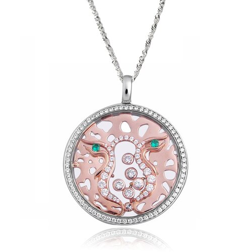 Sterling Silver Cubic Zirconia and Crystal Leopard Face Necklace