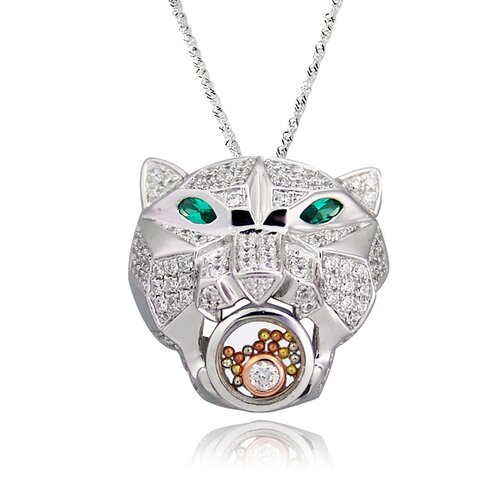 DeBuman Sterling Silver Cubic Zirconia and Crystal Leopard Head Necklace