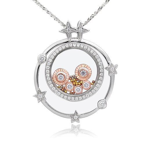 Sterling Silver Cubic Zirconia and Crystal Twinkle Necklace