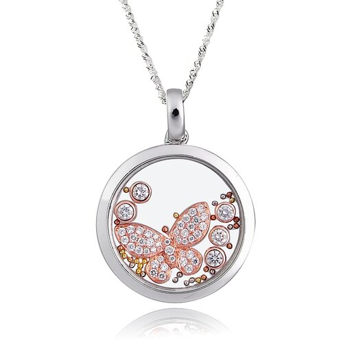 Sterling Silver Cubic Zirconia and Crystal Butterfly Necklace