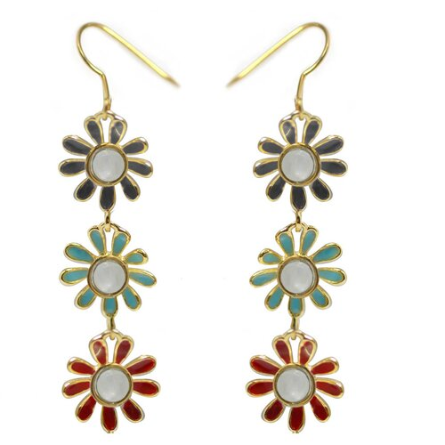 Flower Round Cut Gemstone Drop Earrings