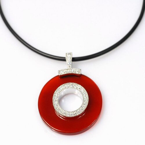 Sterling Silver Round Cut Agate Necklace