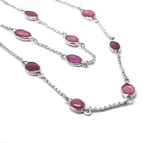 Sterling Silver Natural Ruby Necklace
