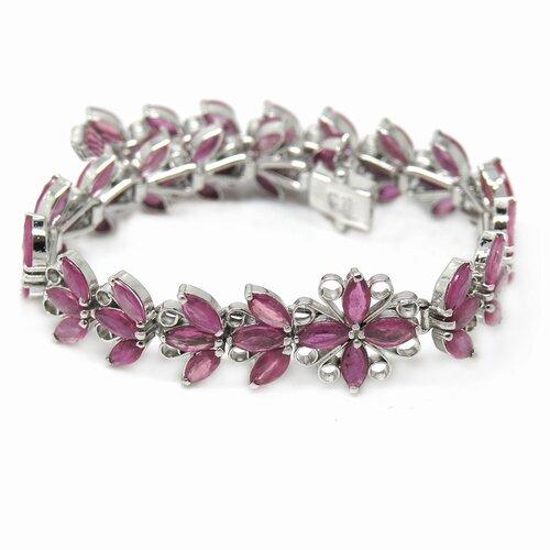 Flower Natural Ruby Link Bracelet