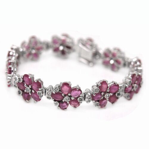 Flower Natural Ruby Link Bracelet
