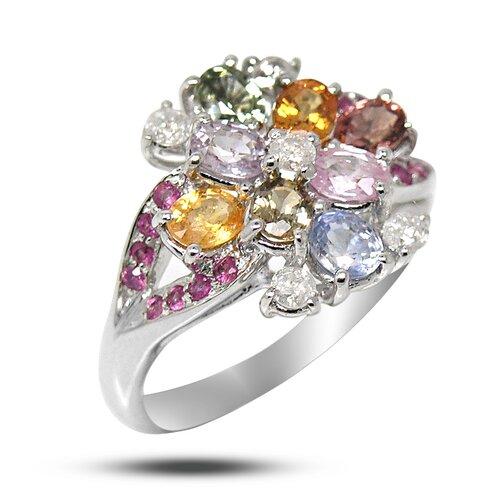 White Gold Oval Cut Gemstone Ring
