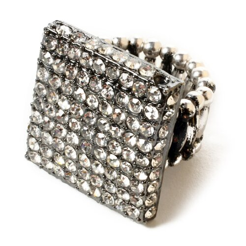 Amrita Singh Gunmetal Plated Crystal Union Square Ring