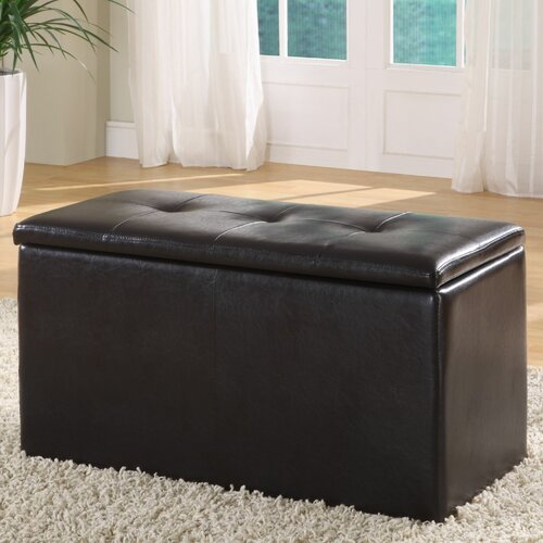 Urban Leatherette Storage Bench with 2 Ottomans