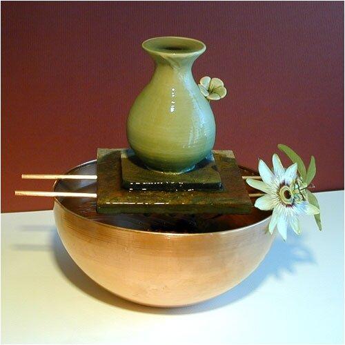 Flower Ceramic Vase Tabletop Fountain