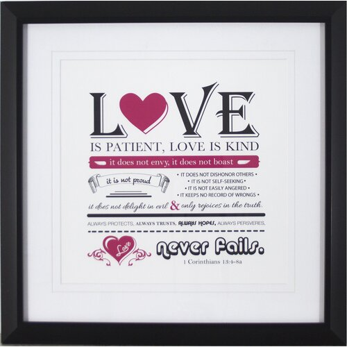Typography Love Framed Textual Art
