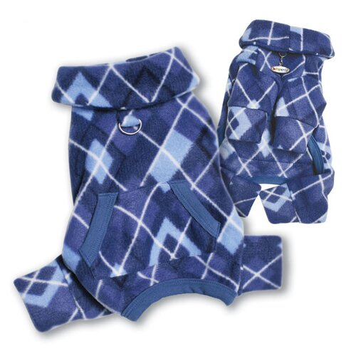 Argyle Pattern Fleece Turtleneck Dog Pajamas / Bodysuit