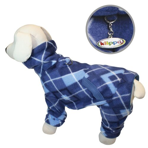 Klippo Pet Argyle Pattern Fleece Turtleneck Dog Pajamas / Bodysuit