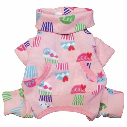 Klippo Pet Peace Signs and Cupcakes Fleece Turtleneck Dog Pajamas/Bodysuit