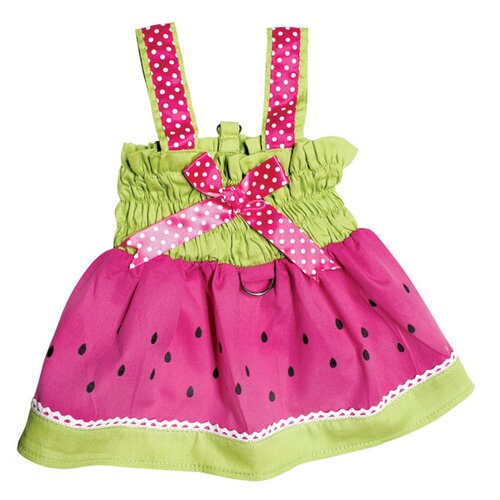 Klippo Pet Juicy Watermelon Dog Sundress with Large D-ring for Easy Leash Attachment